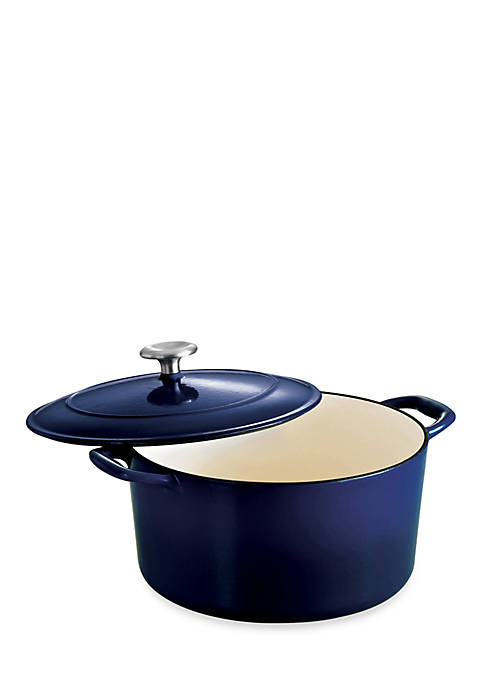 Gourmet 6.5-qt. Cobalt Enameled Cast Iron Covered Round Dutch Oven - Online Only