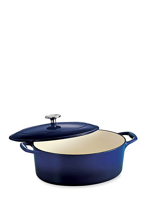 Gourmet 5.5-qt. Cobalt Enameled Cast Iron Covered Oval Dutch Oven - Online Only