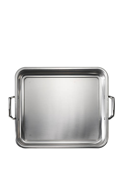 Gourmet 16.5-in. Prima 18/10 Stainless Steel Roasting Pan - Includes Basting Grill - Online Only