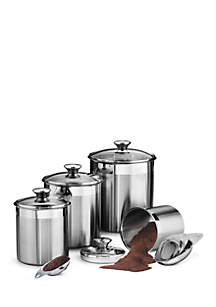 Gourmet 18/10 Stainless Steel 8-Piece Canister & Scoops Set