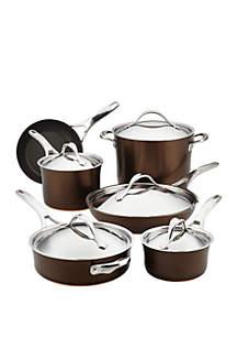 Anolon 11 Piece Nouvelle Copper Luxe Hard-Anodized Nonstick Cookware Set