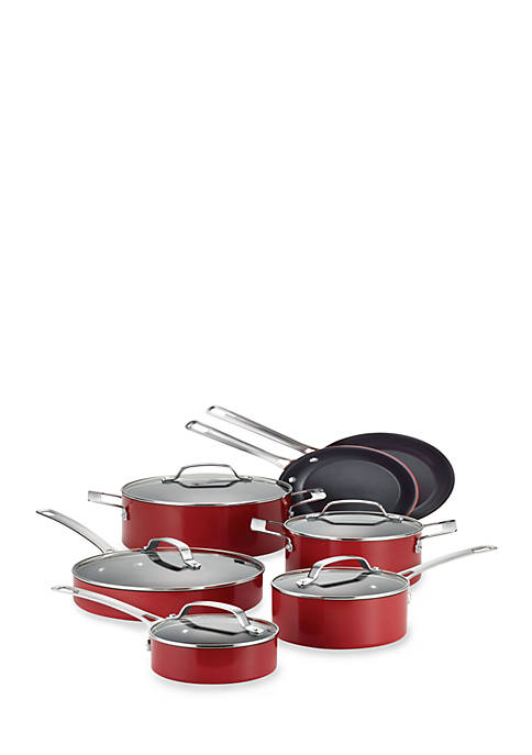 Circulon Genesis Aluminum Nonstick 12-Piece Cookware Set, Red
