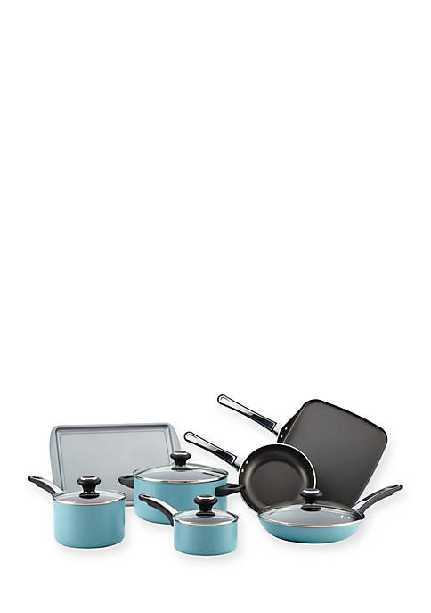 High Performance Nonstick Aluminum 17 Piece Cookware Set, Aqua