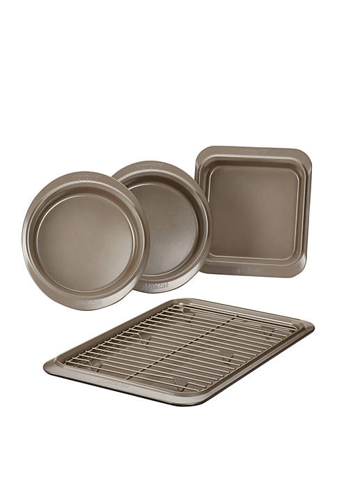 Eminence Nonstick Bakeware Set, 5-Piece, Onyx with Umber Interior