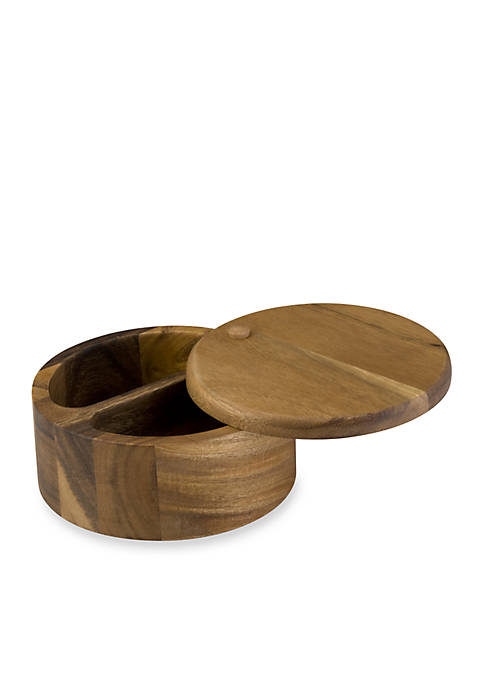 Signature Pantryware Wooden 2-Compartment Round Salt Box
