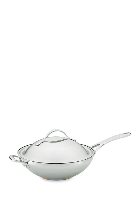 Nouvelle Copper Stainless Steel 12-in. Covered Stir Fry with Helper Handle
