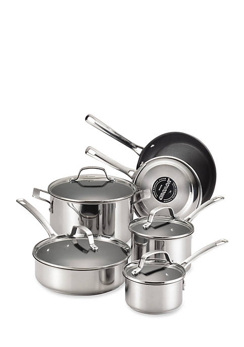 Genesis Stainless Steel Nonstick 10-Piece Cookware Set - Online Only
