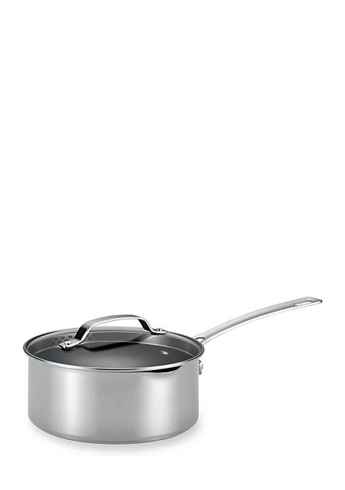 Genesis Stainless Steel Nonstick 3-qt. Covered Straining Saucepan