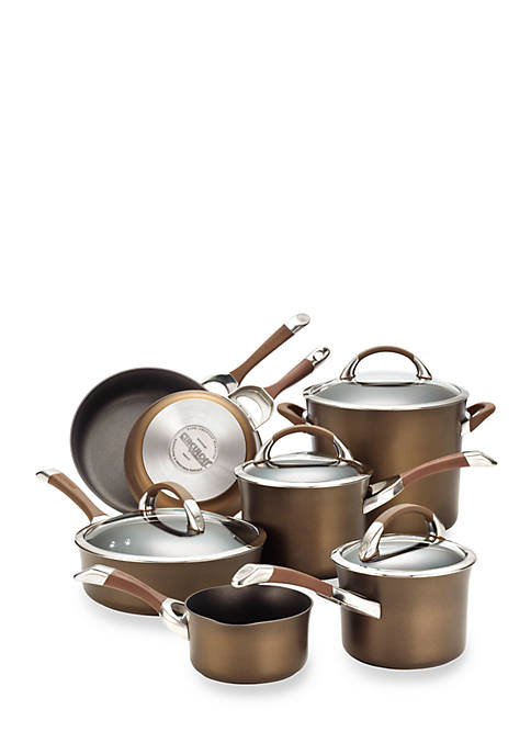 Symmetry Chocolate Hard-Anodized Nonstick 11-Piece Cookware Set