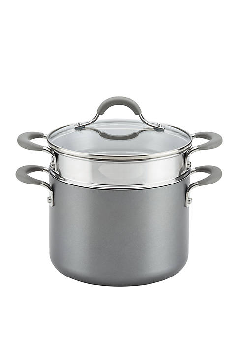 Elementum Hard-Anodized Nonstick Covered Multipot with Steamer Insert, 5-Quart, Oyster Gray