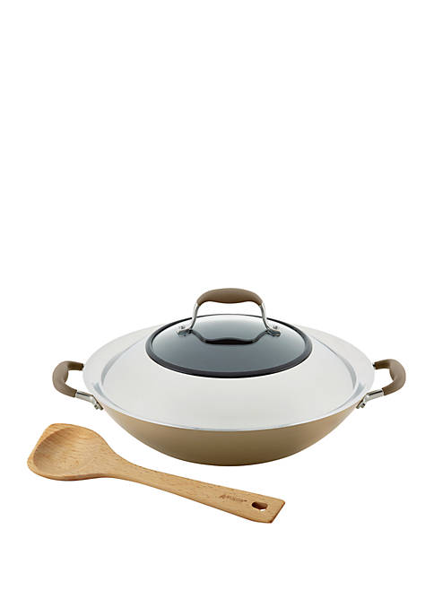Advanced Home Hard Anodized 14 Inch Nonstick Wok with Side Handles and Wooden Spoon
