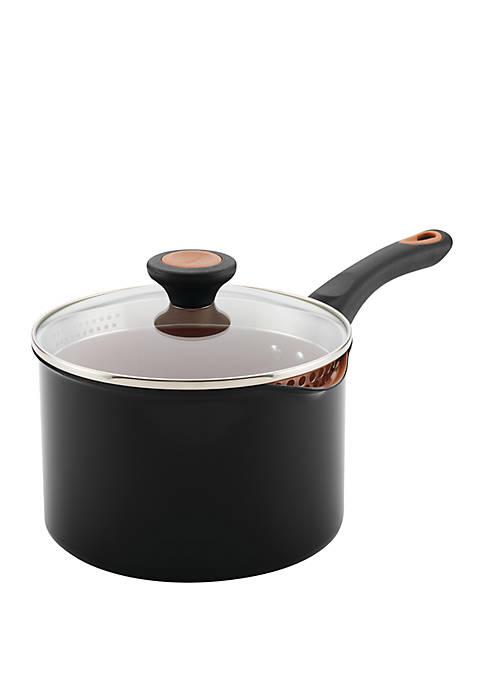 Glide Copper Ceramic 3 Quart Nonstick Straining Saucepan Black