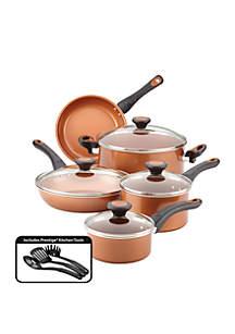 Farberware Glide Copper Ceramic 12 Piece Nonstick Cookware Set