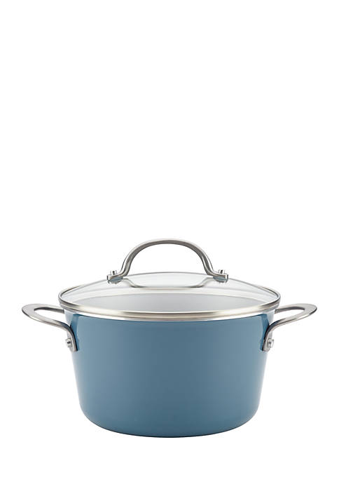 Ayesha Curry Porcelain Enamel Nonstick Covered Saucepot, 4.5