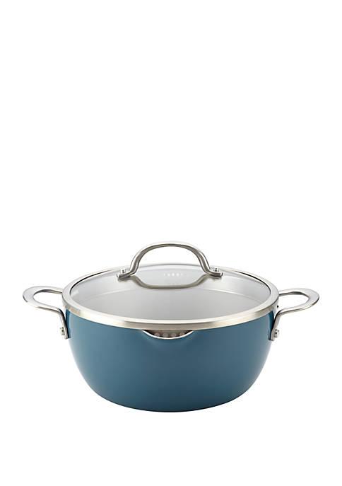 Porcelain Enamel Nonstick Covered Straining 5.5 Quart Casserole Dish