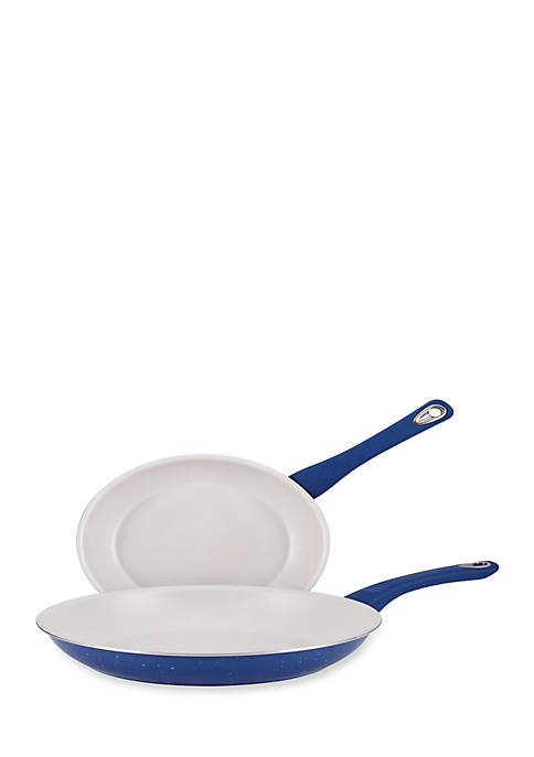 New Traditions Speckled Aluminum Twin Pack: 9.25-in. and 11.5-in. Open Skillets, Blue with White Nonstick Interior and Blue Grip Handles