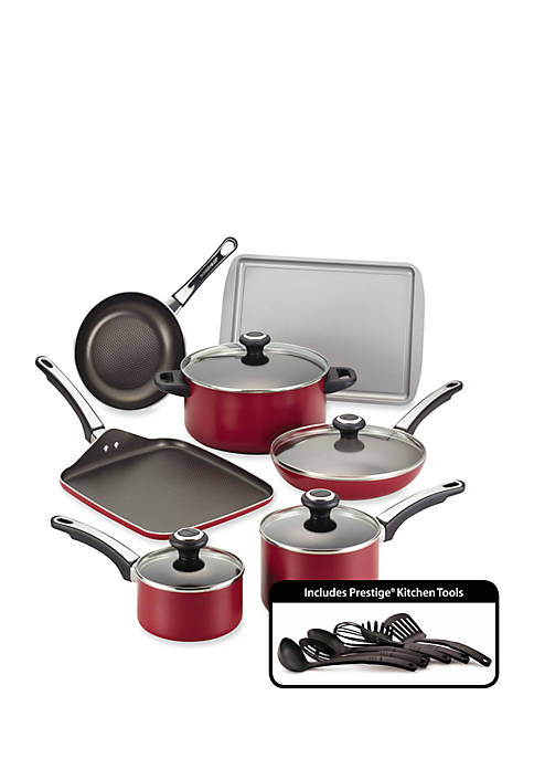 High Performance Nonstick 17-Piece Cookware Set, Red