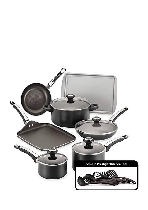 High Performance Nonstick 17-Piece Cookware Set, Black