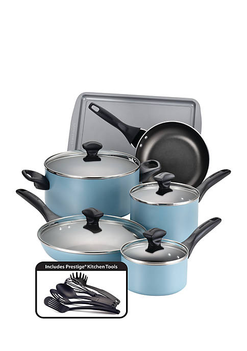 Farberware 15-Piece Cookware Set, Aqua