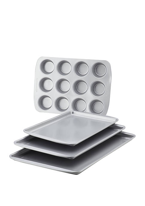 Nonstick Bakeware 4 Piece Set, Gray