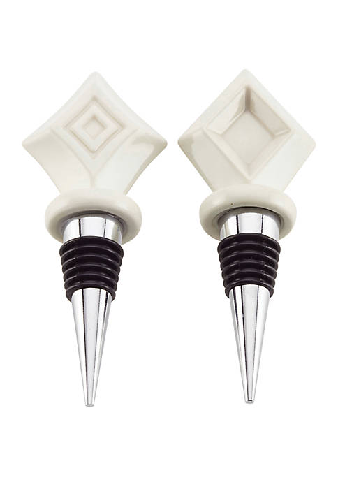 2 Piece Barware Diamond Bottle Stopper Set