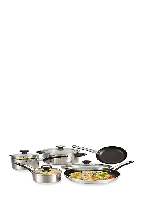 12-pc. Nonstick Stainless Steel Cookware Set