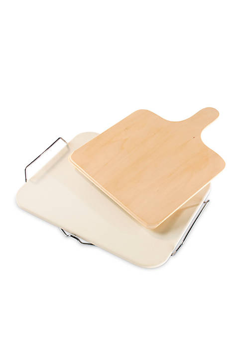 Household Essentials® Pizza Stone Ceramic Square with Wooden