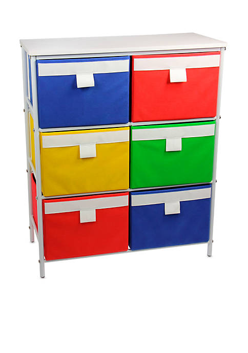 Household Essentials® White storage stand with 6 bins