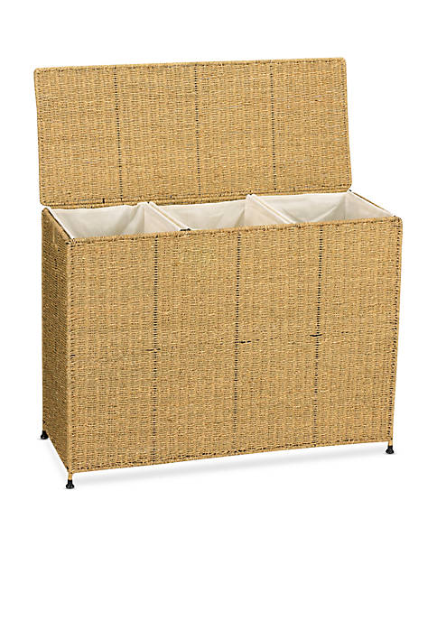 Household Essentials® Seagrass Wicker Triple Sorter with Wheels