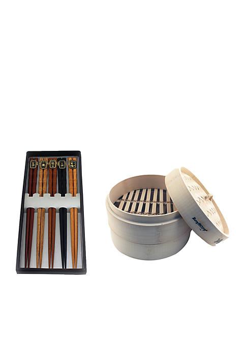 Bamboo 11-Piece Steamer Set: Steamer & Chopsticks