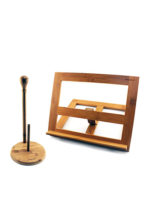 BergHOFF® Bamboo Cookbook & Paper Towel Holder Set