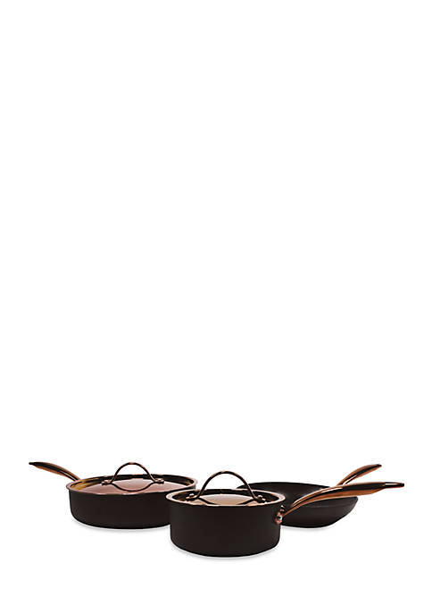 Ouro 5-Piece Hard Anodized Starter Cookware Set with Rose Gold Handles