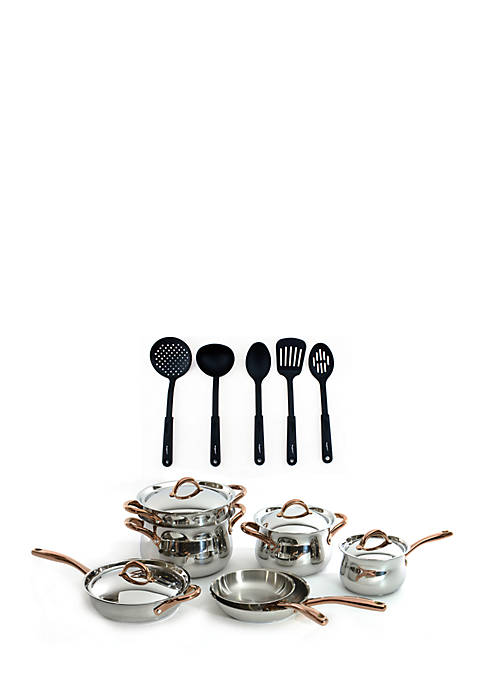 16-Piece Stainless Steel Cookware Set with 5-Piece Nylon Tool