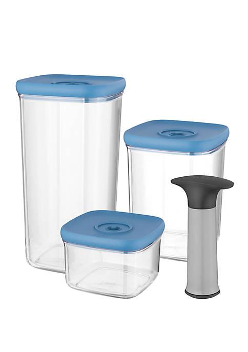 Leo Vacuum Food Container Set of 4- Blue