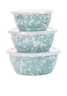 6-Piece Small Marble Mixing Bowl Set with Lids