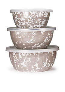 Golden Rabbit® 6-Piece Small Marble Mixing Bowl Set with Lids