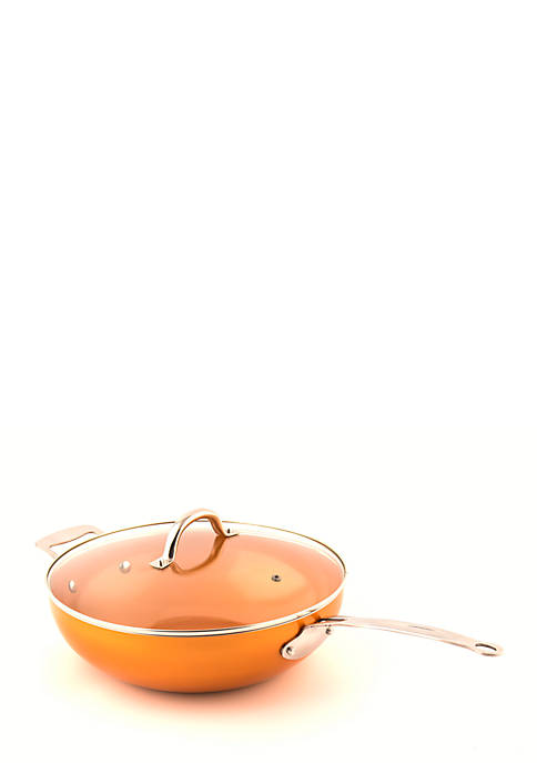 MasterPan Original Copper Pan Non-Stick Wok with Lid
