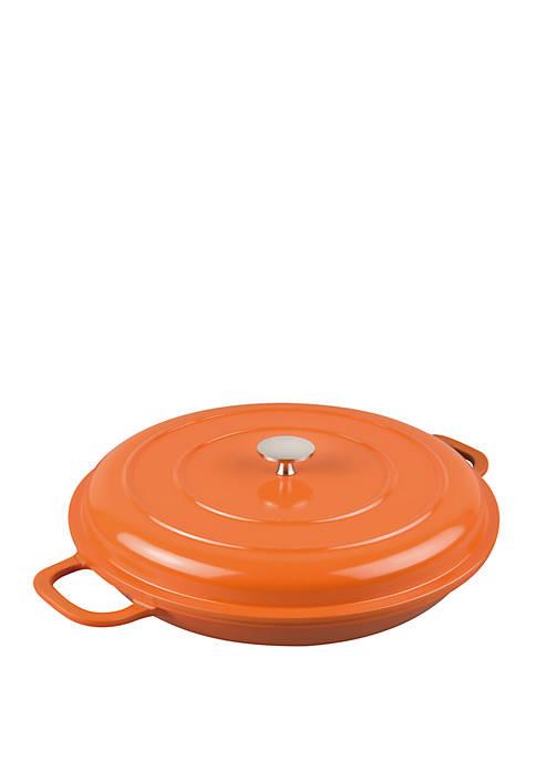 3 Qt Non-Stick Cast Aluminum Dutch Casserole 11 in Orange