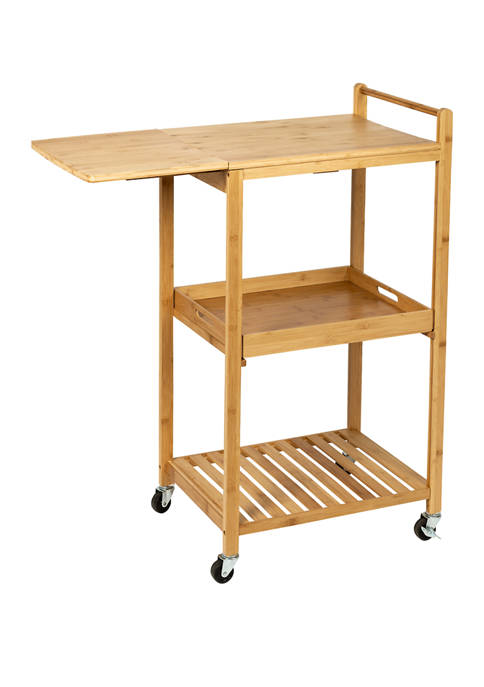 Honey-Can-Do 38 Inch Bamboo Kitchen Cart with Wheels