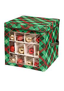 Plaid Ornament Storage Cube