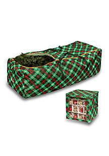 Set of Plaid Rolling Tree Storage Bag And Plaid Ornament Storage Cube