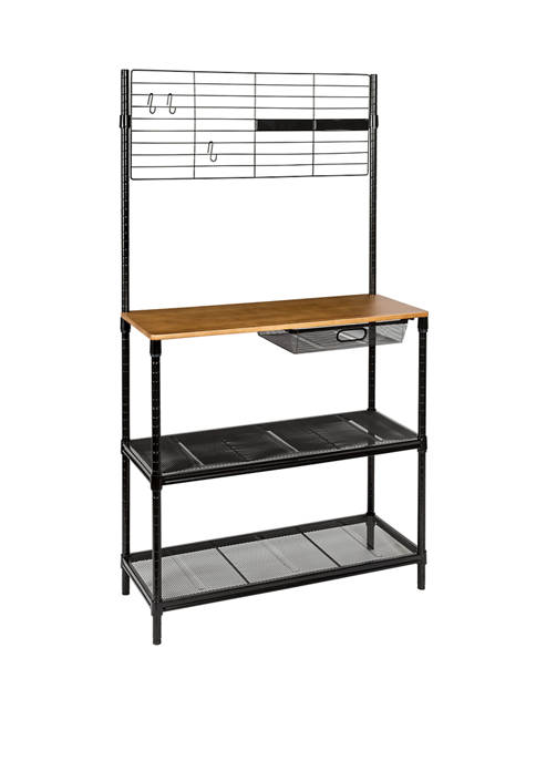 Honey-Can-Do Bakers Rack with Cutting Board and Hanging