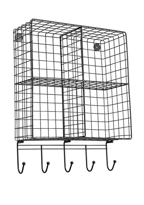 Honey-Can-Do Wall Shelf with Hooks