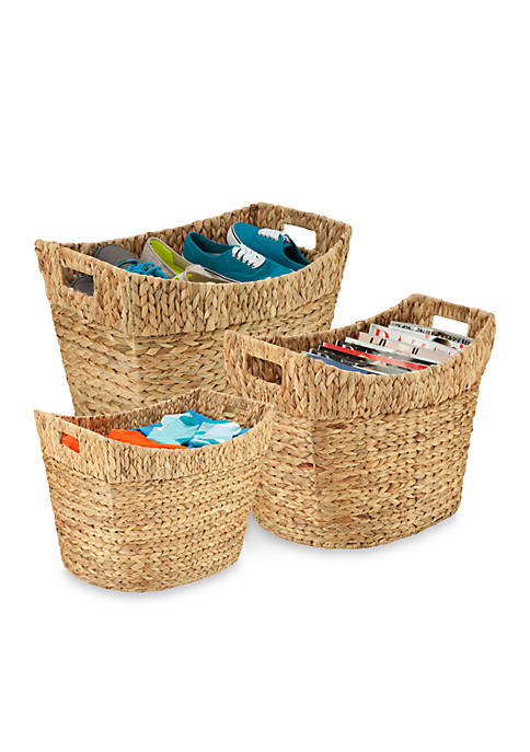 Honey-Can-Do 3-Piece Tall Water Hyacinth Baskets