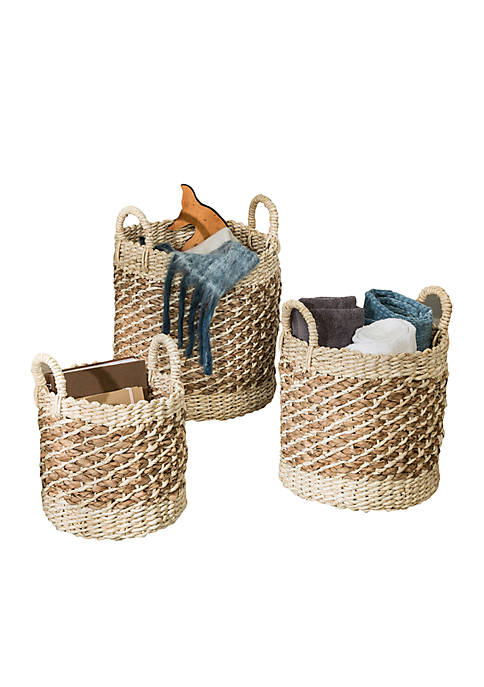 Honey-Can-Do Coastal Collection Nesting Storage Bins with Handles