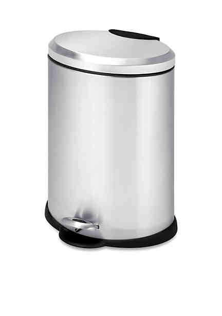 Satin Stainless Steel Half Round Open Side Fire Safe Trash Can