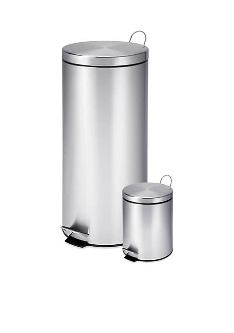 Honey-Can-Do Dual Pack Stainless Steel Step Trash Can