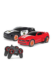World Tech Toys Officially Licensed Ford Mustang Battle Pursuit Flip Action RC Cars Double Pack