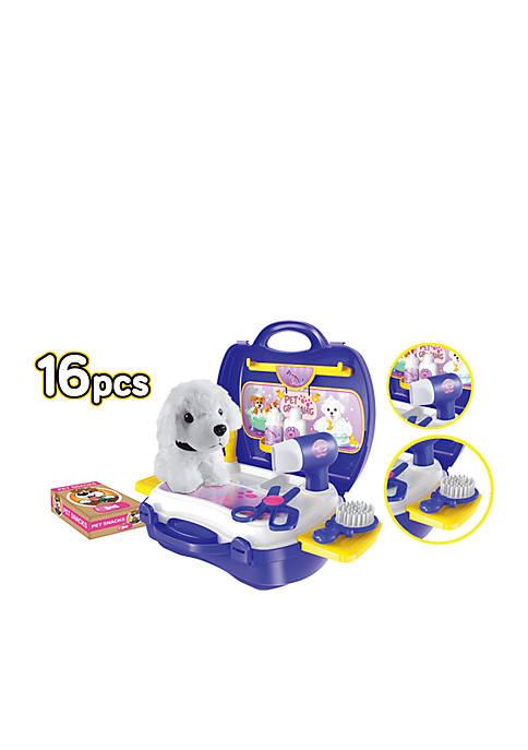 Pet Grooming 16-Piece Suitcase Playset
