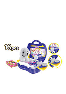 Pet Grooming 16-Piece Suitcase Playset